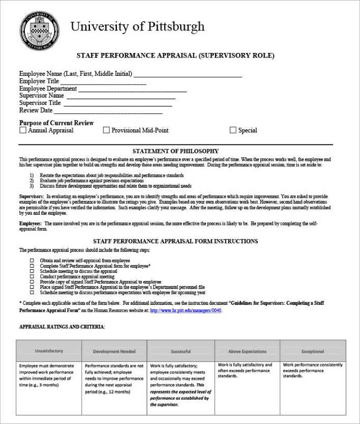 Download Staff Performance Appraisal Form Template for Free