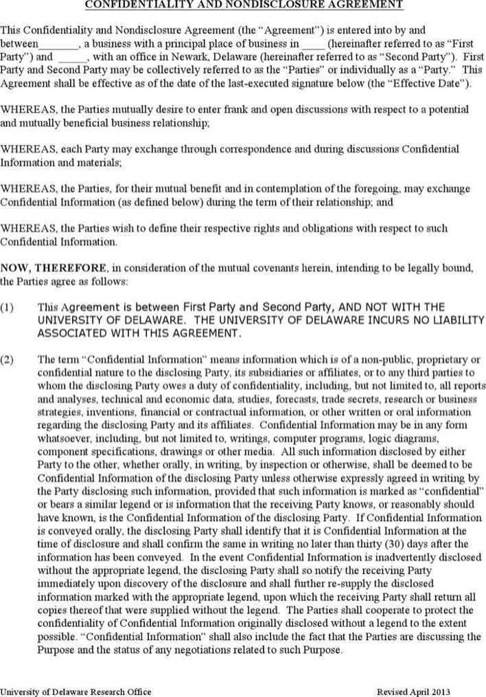 Download Standard Confidentiality Agreement Template for Free