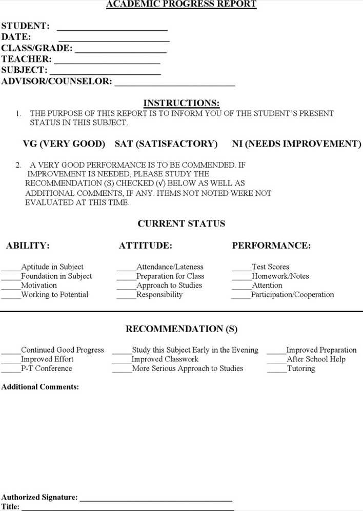 Download Student Progress Report Template for Free - TidyTemplates