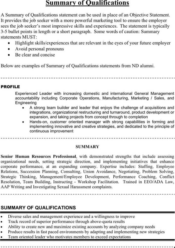 Download Summary of Qualifications Example 3 for Free - TidyTemplates