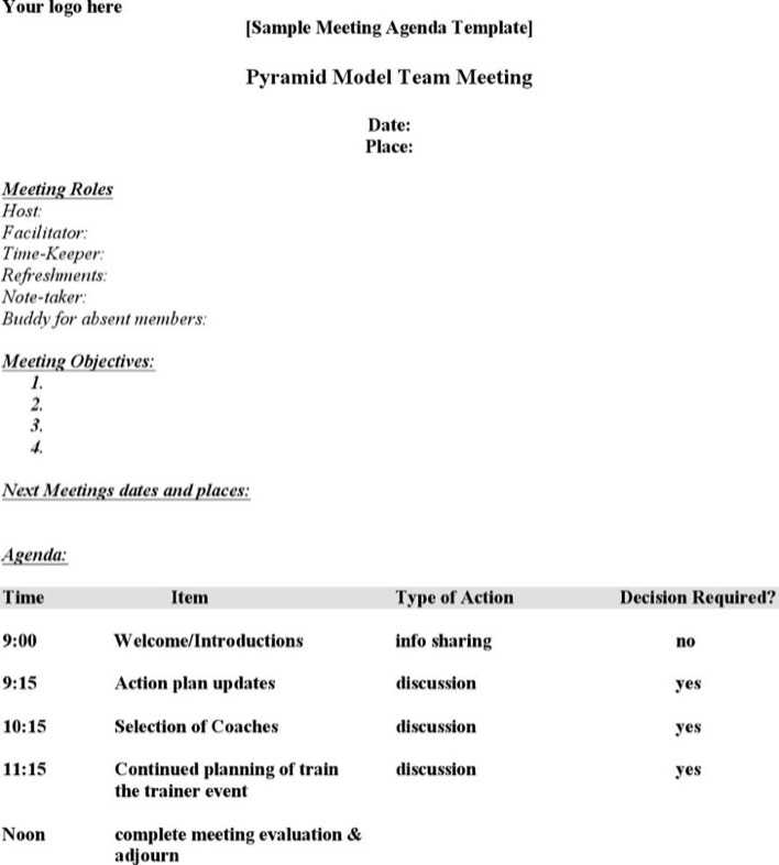 Download Team Meeting Agenda Template Of Company for Free