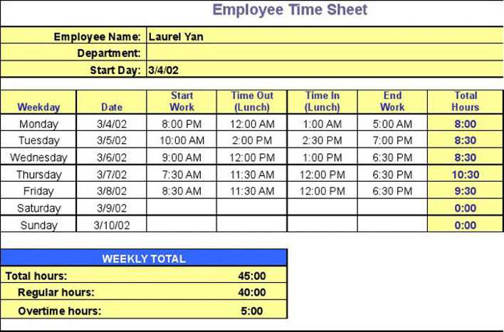 Download Timesheet Calculator 2 for Free - TidyTemplates
