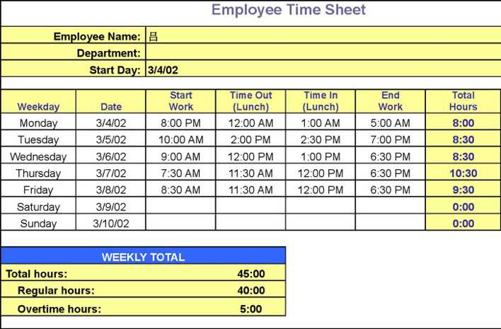 Download Timesheet Calculator Spreadsheet for Free - TidyTemplates