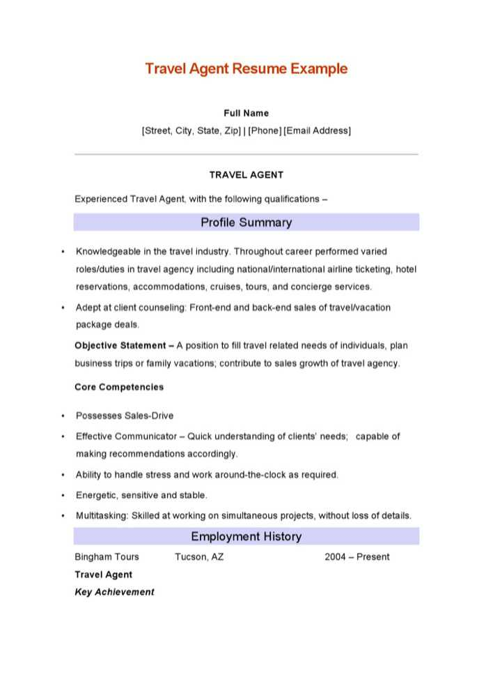 Download Travel Agent Resume Example for Free - TidyTemplates