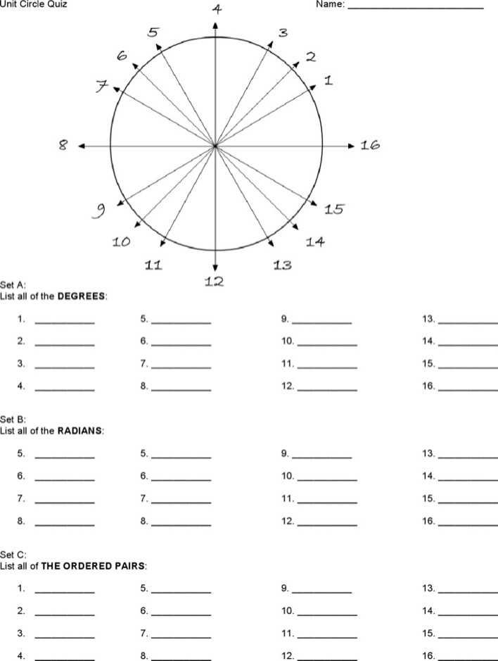 Download Unit Circle Chart Quiz Free Download for Free - TidyTemplates