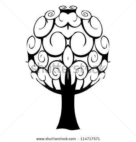 Download Vector Illustrated One Color Family Tree for Free