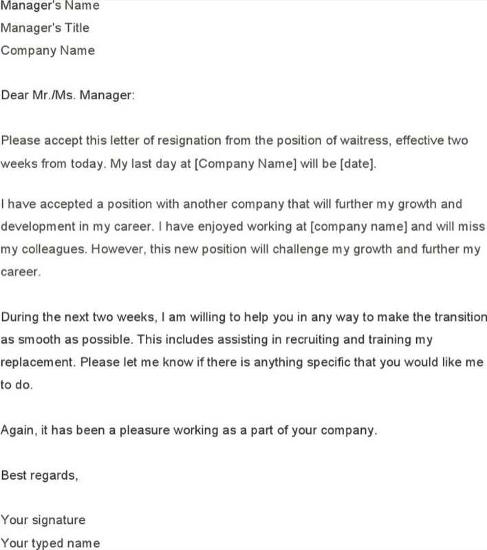 Download Waitress Two Weeks Notice Template for Free - TidyTemplates