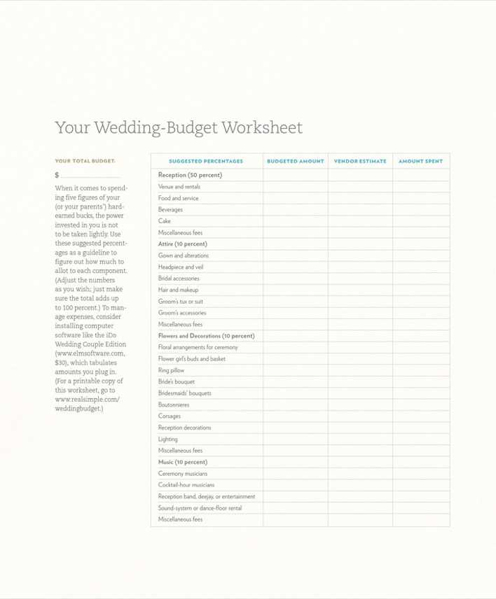 Download Wedding-budget Worksheet for Free - TidyTemplates