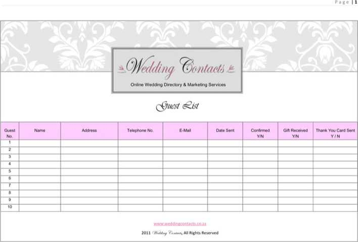 Download Wedding Guest List Template 2 for Free - TidyTemplates