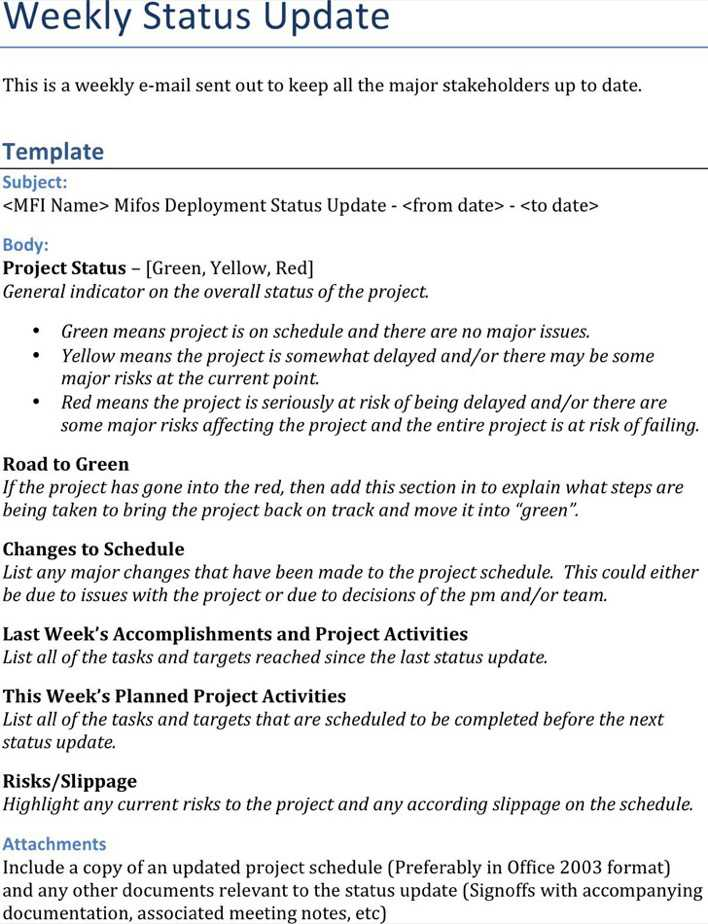 Download Weekly Status Report Template 2 for Free - TidyTemplates