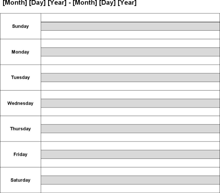10+ Sample Weekly Calendar Templates PSD Designs Free Download