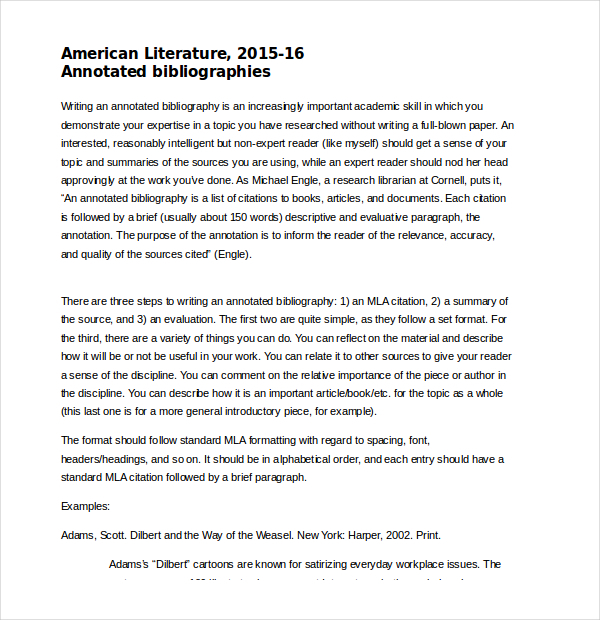 9+ MLA Annotated Bibliography Template Free Download