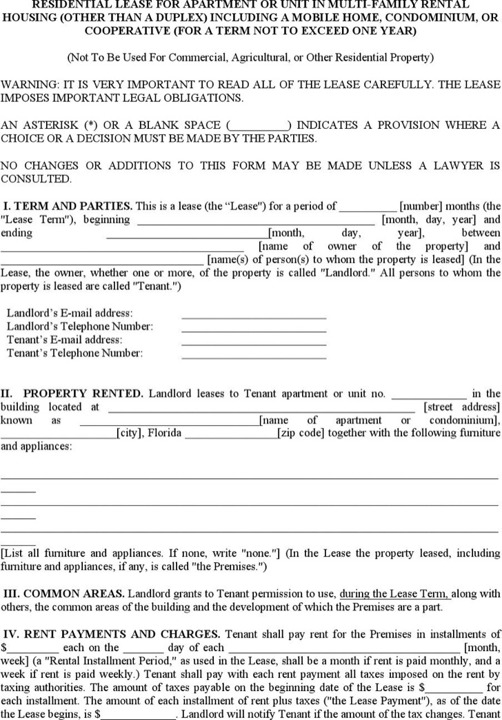 7+ Apartment Lease Templates Free Download