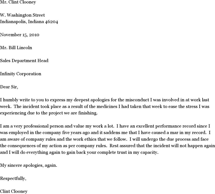 1+ Sample Letter of Apology for Misconduct Free Download