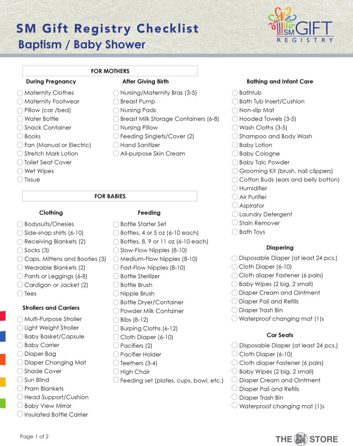 3+ Baby Shower Registry Checklists Free Download