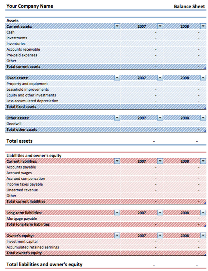 11+ Balance Sheet Template Free Download