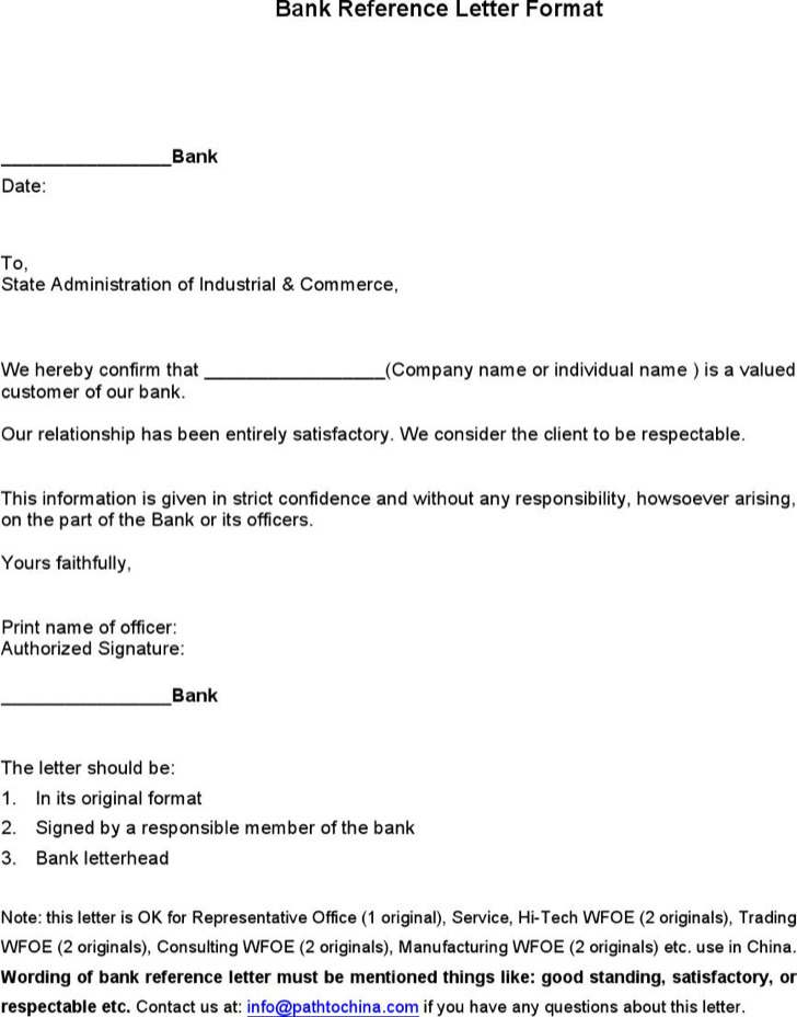 7+ Sample Bank Reference Letter Templates Free Download