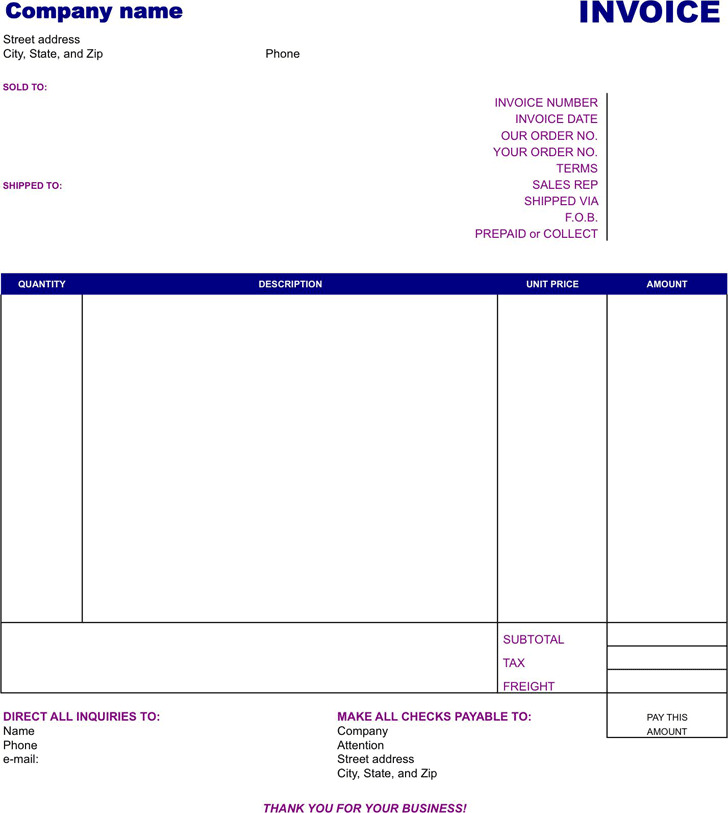 3+ Basic Invoice Template Free Download