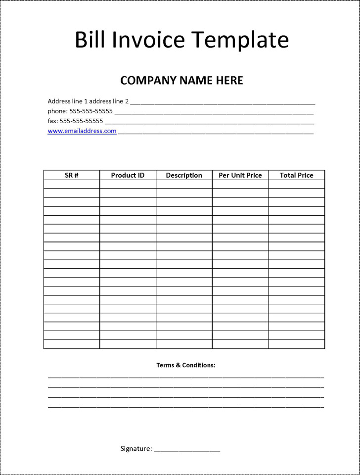 5+ Billing Invoice Template Free Download