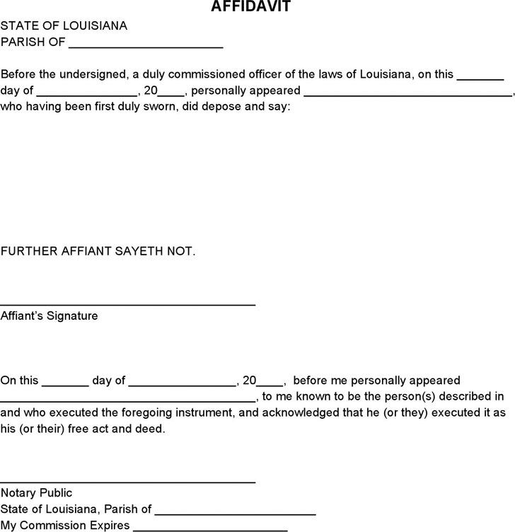 2+ Louisiana Affidavit Form Free Download