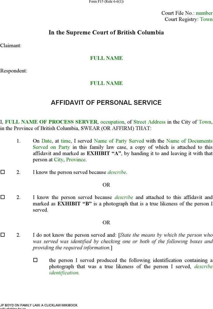 7+ British Columbia Affidavit Form Free Download