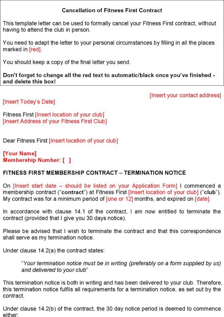 Download Cancel Gym Contract Template Word Doc Download for Free