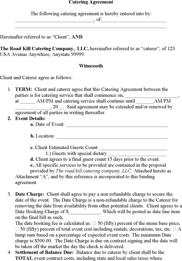 3+ Catering Contract Template Free Download