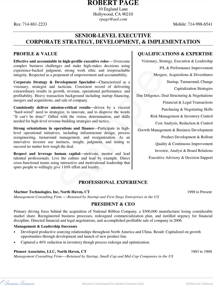 9+ CEO Resume Template Free Download
