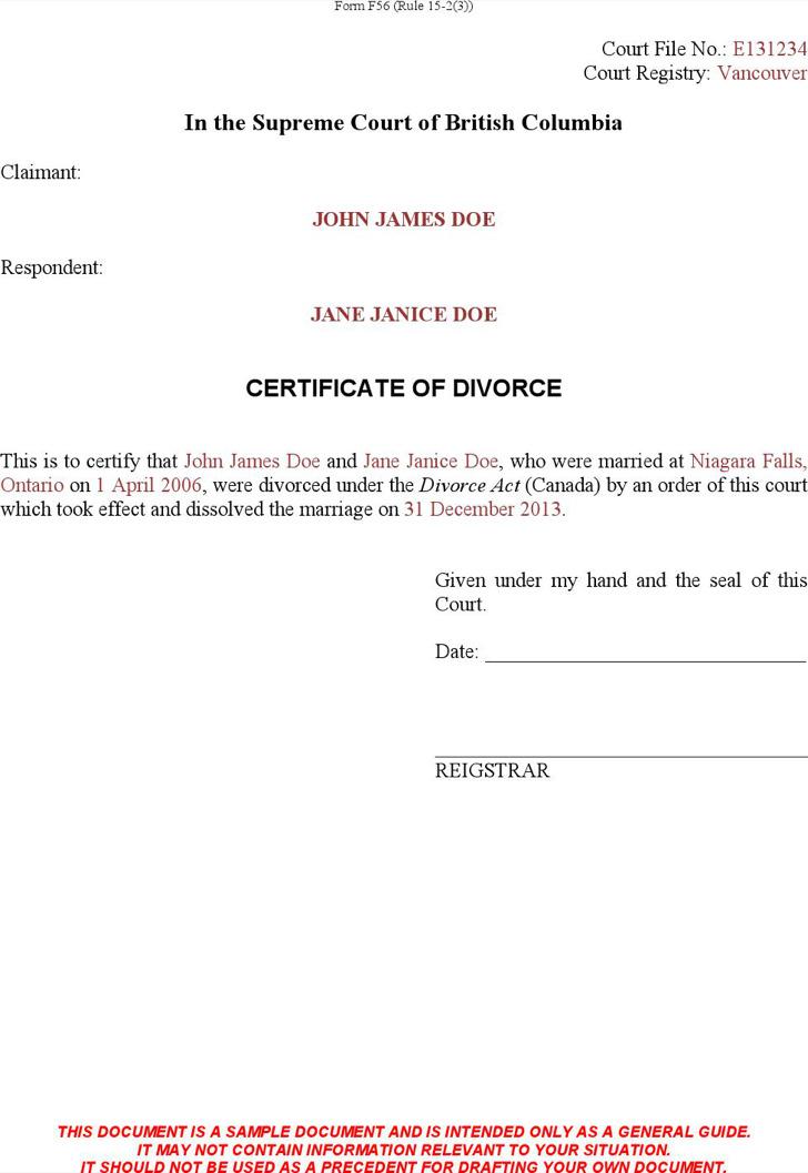 7+ Divorce Certificate Templates Free Download