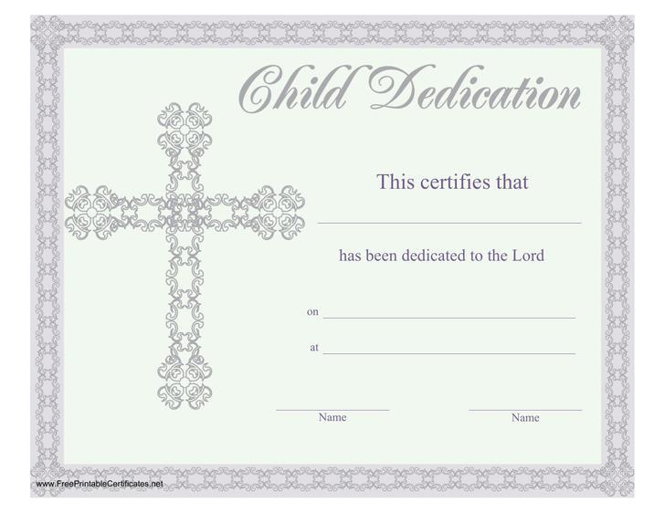 Baby Dedication Certificates Templates Colbro