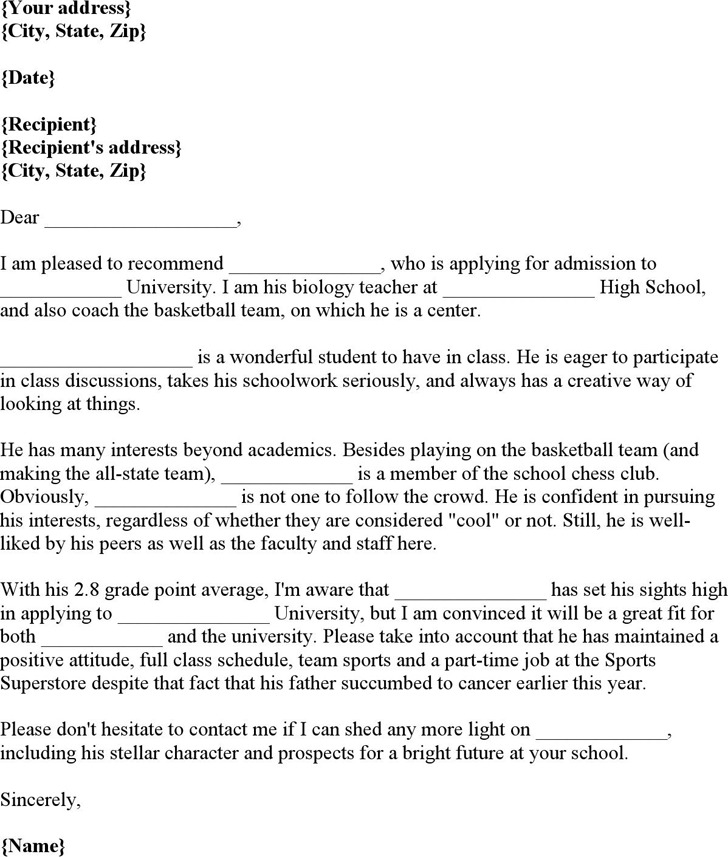 3+ Letter of Recommendation Template Free Download