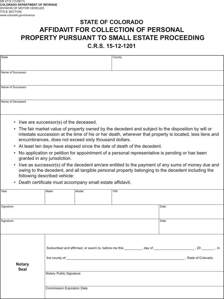 6+ Colorado Affidavit Form Free Download - Free Affidavit Forms Online