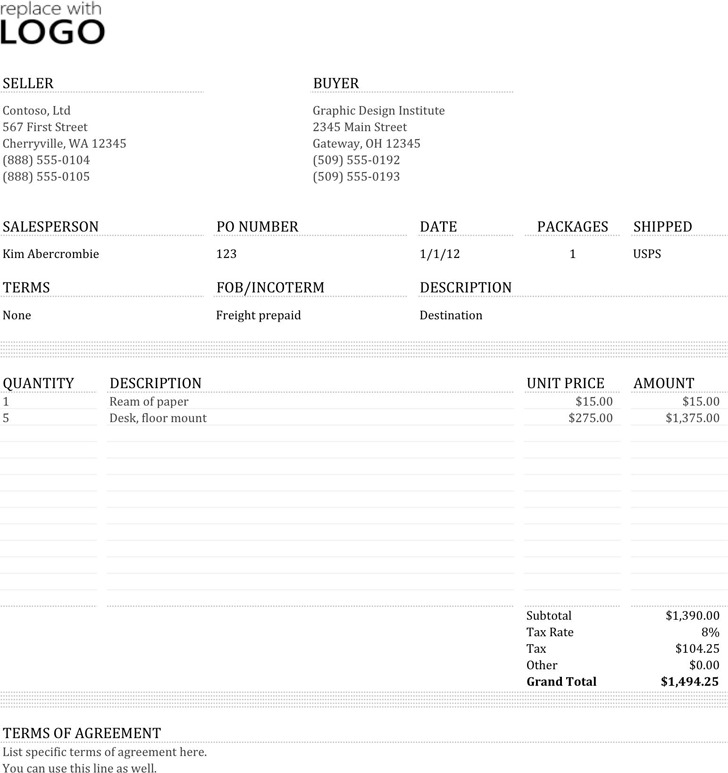 5+ Commercial Invoice Template Free Download