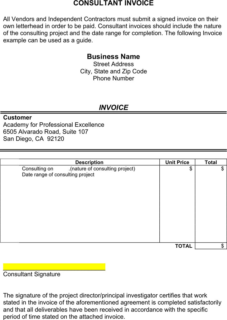 4+ Consulting Invoice Template Free Download