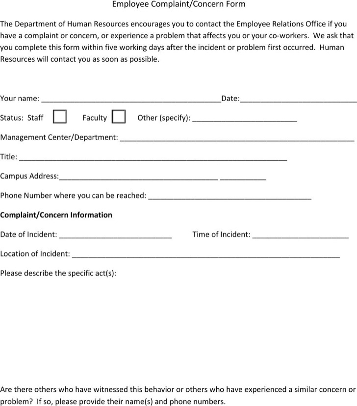 23+ HR Complaint Forms Free Download