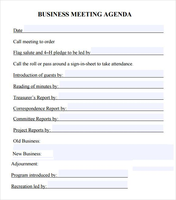 25+ Meeting Agenda Template Free Download - format for an agenda