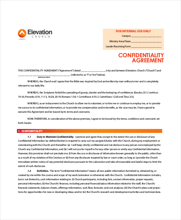 10+ Generic Confidentiality Agreement Free Download