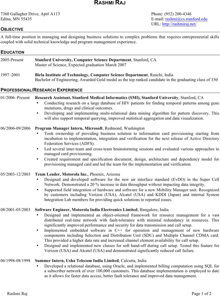 6+ Software Engineer Resume Templates Free Download