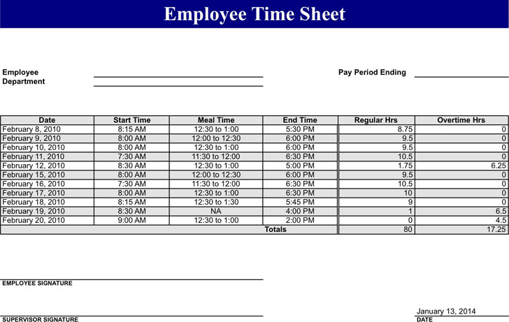 5+ Employee Timesheet Template Free Download