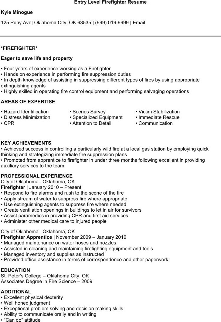 7+ Firefighter Resume Templates Free Downloadawesome firefighter