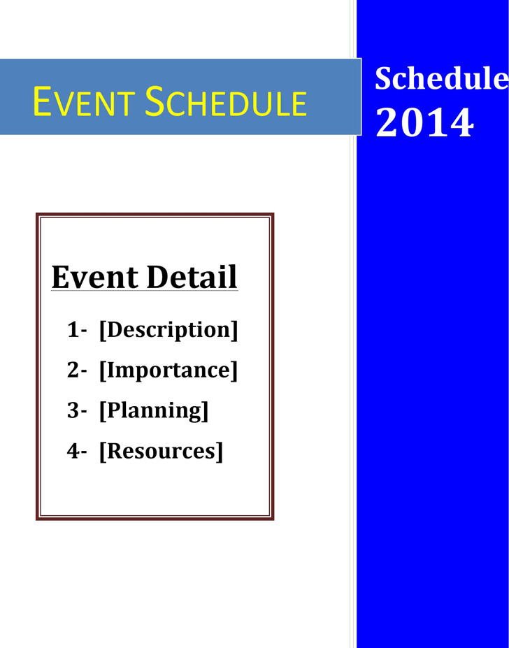 5+ Event Schedule Template Free Download