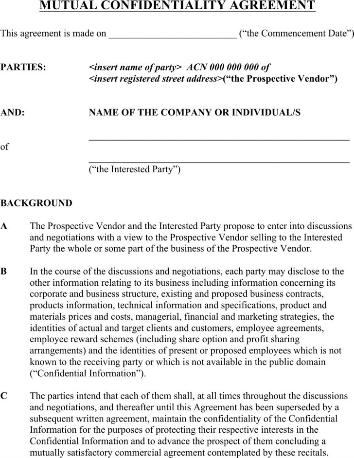 10+ Basic Confidentiality Agreement Templates Free Download