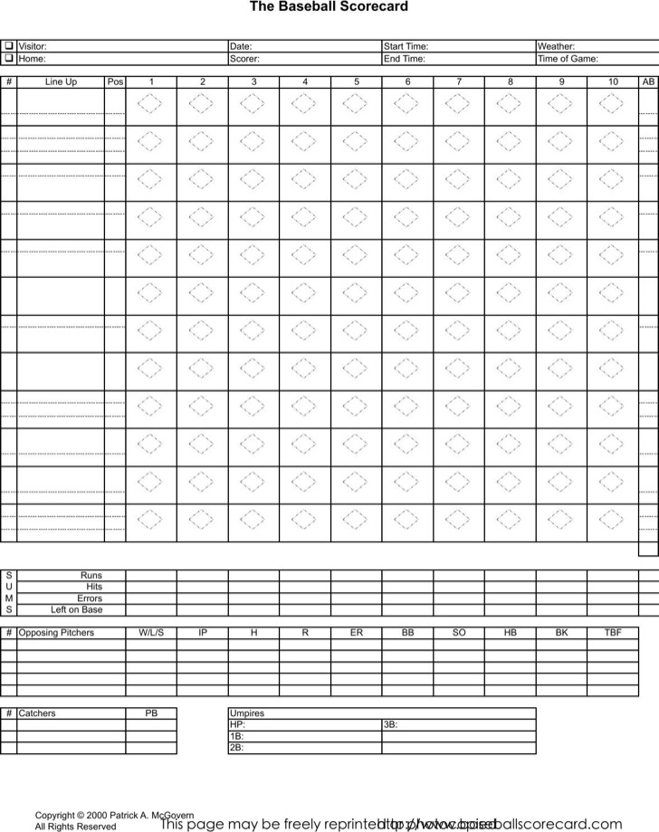 4+ Baseball Scorecard Templates Free Download