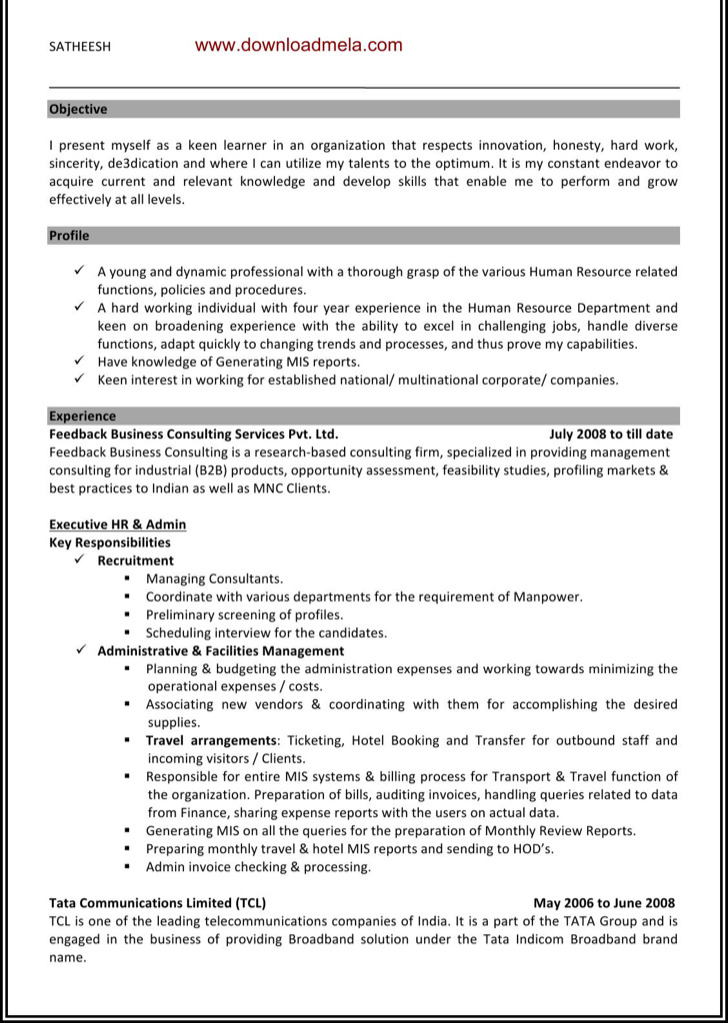 15+ HR Resume Template Free Download