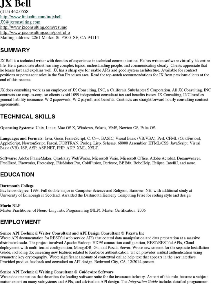 6+ Technical Writer Resume Templates Free Download