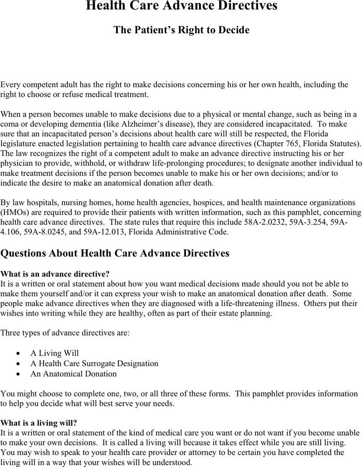 3+ Florida Advance Directive Form Free Download