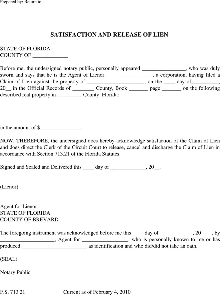 Download Florida Lien Release Form for Free - TidyTemplates - release of lien form