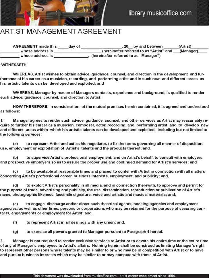 5+ Artist Management Contract Templates Free Download