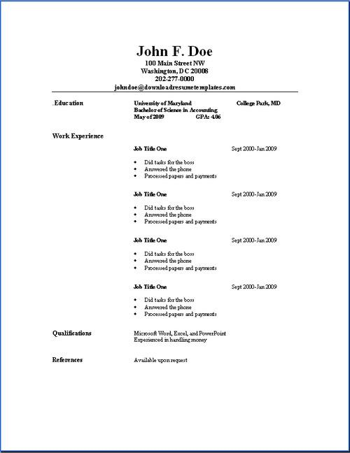 44+ Basic Resume Template Free Download
