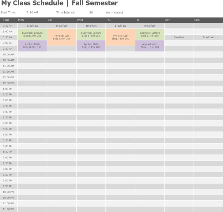 4+ College Class Schedule Template Free Download